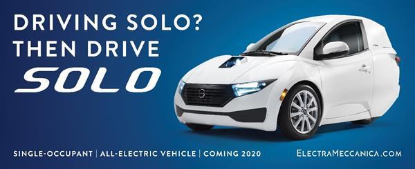 """ElectraMeccanica Launches """"Drive SOLO"""" Marketing Campaign"""